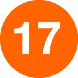 "2"" Dia. Orange Disc With # 17"