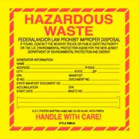 "Hazardous Waste New Jersey 6"" x 6"" - Yellow / Red / Black"