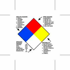 "Right To Know Hazard 4"" x 4"" - White / Red / Black / Blue / Yellow"