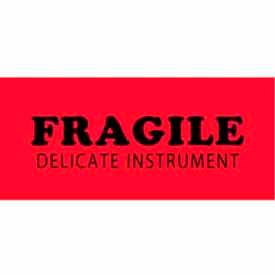 "Fragile Delicate Instrument 1-1/2"" x 4"" - Fluorescent Red / Black"