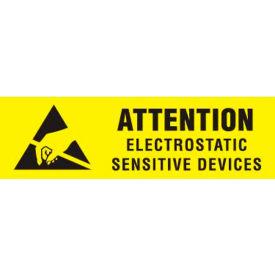 """Attn Electrostatic Sensitive 3/8"""" x 1-1/4"""" - Yellow / Black"""