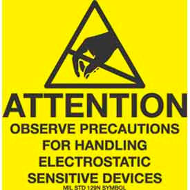 "Attention Observe Precaution 2"" x 2"" - Yellow / Black"