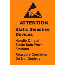 """Removable: Attn Static Sensitive 1 3/4"""" x 2 1/2"""" - Fluorescent Orange / Black"""