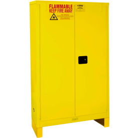 "Global™ Flammable Cabinet With Legs - Manual Close Double Door 45 Gal - 43""W x 18""D x 69""H"