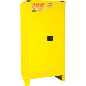 "Global™ Flammable Cabinet With Legs - Self Close Double Door 60 Gallon - 34""W x 34""D x 69""H"