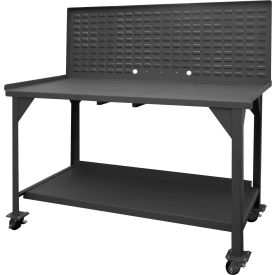 """Durham DWBM-3060-BE-LP-95 60""""W x 30""""D x 61-3/4""""H Mobile Work Bench with louvered panel top"""