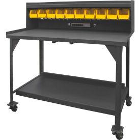 """Durham DWBM-3060-BE-RSR-95 60""""W x 30""""D x 53-3/4""""H Mobile Work Bench w/Riser, Elec. Strip, & 10 Bins"""