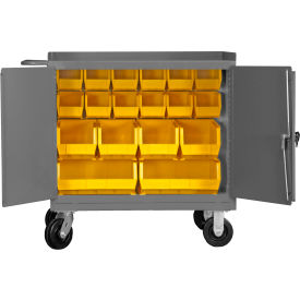 "Durham 3100-BLP-18-95 36""W x 24""D Mobile Bench Cabinet - 18 Bins, Gray"