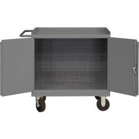 "Durham 3100-BLP-95 36""W x 24""D Mobile Bench Cabinet - No Bins, Gray"