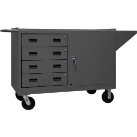 "Durham 3401-95 60""W x 24""D Mobile Bench Cabinet - 1 Shelf, 4 Drawers, Gray"