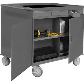 """Durham 662-95 34""""W x 24""""D Two Sided Cart - 12 Compartments, 12 Drawers, 1 Cabinet"""
