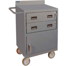 """Durham 2201-95 24""""W x 18""""D Mobile Bench Cabinet - 2 Drawers, 1 Compartment, Gray"""