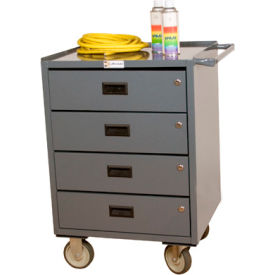 """Durham 2202-95 23""""W x 20""""D Mobile Bench Cabinet - 4 Drawers, Gray"""