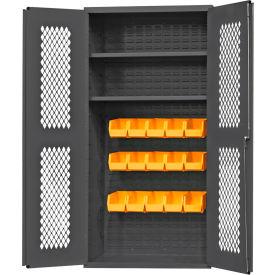 "Durham Expanded Metal Door Bin Cabinet EMDC36242S15B95 - 15 Bins 2 Shelves 36""W x 24""D x 72""H"