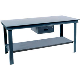 "Durham HWB-3672-95 72""W x 36""D Fixed Legs Workbench - Steel Square Edge, Gray"