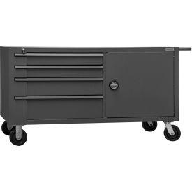 "Durham MBC-3060-95 60""W x 30""D Mobile Bench Cabinet - 1 Shelf, 8 Drawers, Gray"