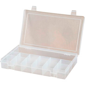 Durham Small Plastic Compartment Box SP13-CLEAR - 13 Compartments, 6-3/4x6-3/4x1-3/4 - Pkg Qty 10