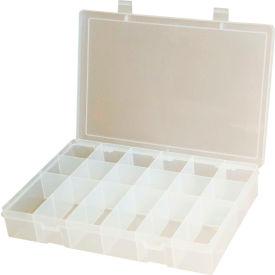 "Durham Small Plastic Compartment Box SP18-CLEAR - 18 Compartments 10-13/16""L x 6-3/4""W x 1-3/4""H - Pkg Qty 10"