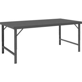 "Durham WBF-3060-95 60""W x 30""D Folding Leg Workbench - Steel Square Edge, Gray"
