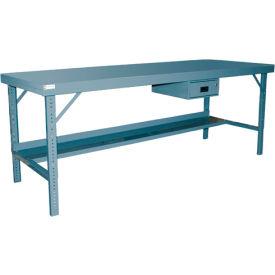 "Durham WBF-3696-95 96""W x 36""D Folding Leg Workbench - Steel Square Edge, Gray"