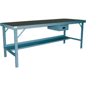"Durham WBF-TH-3096-95 96""W x 30""D Folding Leg Workbench - Square Edge Shop Top, Gray"