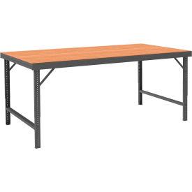 "Durham WBF-TH-3672-95 72""W x 36""D Folding Leg Workbench - Square Edge Shop Top, Gray"