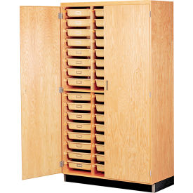 Diversified Woodcrafts Science Tote Tray Storage Cabinet - 48 Compartments - Oak