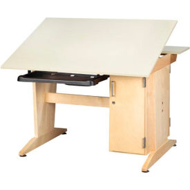 Drafting/Drawing Table with Vertical Tower Storage and Keyboard Tray