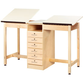 """Drafting Table 60""""L x 24""""W - 2 Station w/ 6 Drawers"""