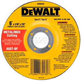 "DeWalt DW8426 Metal & Stainless Cutting Wheel Type 27 6"" Diameter 60 Grit Aluminum Oxide - Pkg Qty 25"