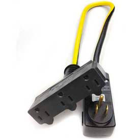 Direct Wire & Cable 402123002500, 2' Extension Cord, 12/3, Tri Tap, Yellow, SJTW