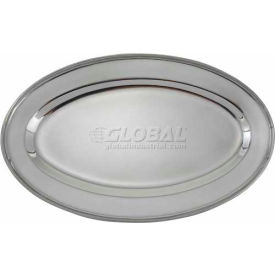"Winco OPL-18 Oval Platter, 18""L, 11-1/2""W, Stainless Steel, Oval - Pkg Qty 10"
