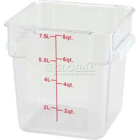 Winco PCSC-8C Square Storage Container, 8 Qt, Clear, Polycarbonate - Pkg Qty 12