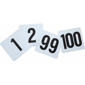 """Winco TBN-100 Table Numbers, 1-100, 4""""L, 4""""W, Plastic, White W/ Black Numbers, 5 Pkgs./100"""