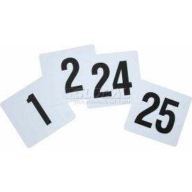 "Winco TBN-25 Table Numbers, 1-25, 3-3/4""W, 4""H, Plastic, Numbers on Both Sides, 10 Pkgs/25"