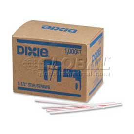 """Dixie Stirrers, 5-1/2""""L, Plastic, 1000/Box, Red Striped by"""
