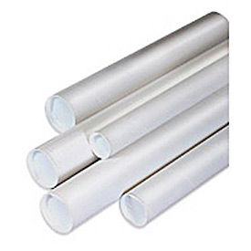 2-1/2 x 26 White Mailing Tubes with Caps - 34/Pack