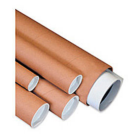 """Mailing Tube With Cap, 9""""L x 2"""" Diameter x 0.06 Wall Thickness, Kraft, 50 Pack"""