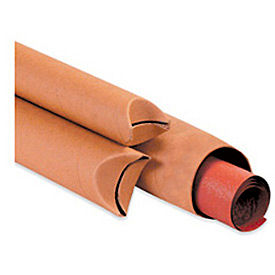 """Crimped End Tube, 12""""L x 2 1/2"""" Diameter x 0.07 Wall Thickness, Kraft, 30 Pack"""