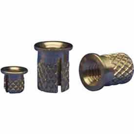 6-32 Flanged Press Insert - Brass - 260-006-Br - Pkg Qty 50