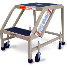 "EGA Steel Office Ladder 2-Step, 16"" Wide Vinyl Covered, Almond, 450 lb. Capacity - F002"