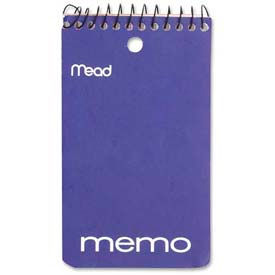 "Mead® Coil Memo Notebook, 3"" x 5"", College Ruled, Top Wirebound, White, 60 Sheets/Pad"
