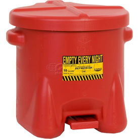 Eagle 10 Gallon Poly Waste Can W/ Foot Lever, Red - 935FL