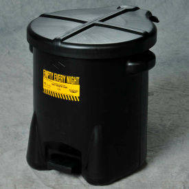 Eagle 10 Gallon Poly Waste Can W/ Foot Lever, Black - 935-FLBK