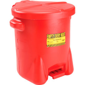 Eagle Poly Waste Can - Red with Foot Lever 14 Gallon