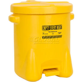 Eagle 14 Gallon Poly Waste Can W/ Foot Lever, Yellow - 937FLY