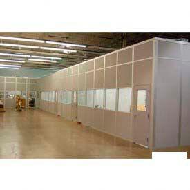 Ebtech Modular Inplant Office, Steel & Gypsum Sound, 20'W X 10'D, 3 Wall, Class A Fire Rating, White
