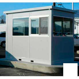 Ebtech Pre-Assembled Security Builidng W/Sliding Door, 4'W X 8'D, Intregral Roof, 4 Wall, White