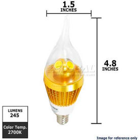 Sunlite, 80289, Chandelier Bulb, Flame Twist, Dimmable, Warm White, Flame Tip, 3 Watt