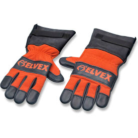 Elvex® ProGloves™ Chain Saw Cowhide Leather Palm Gloves, Blue/Orange, Large